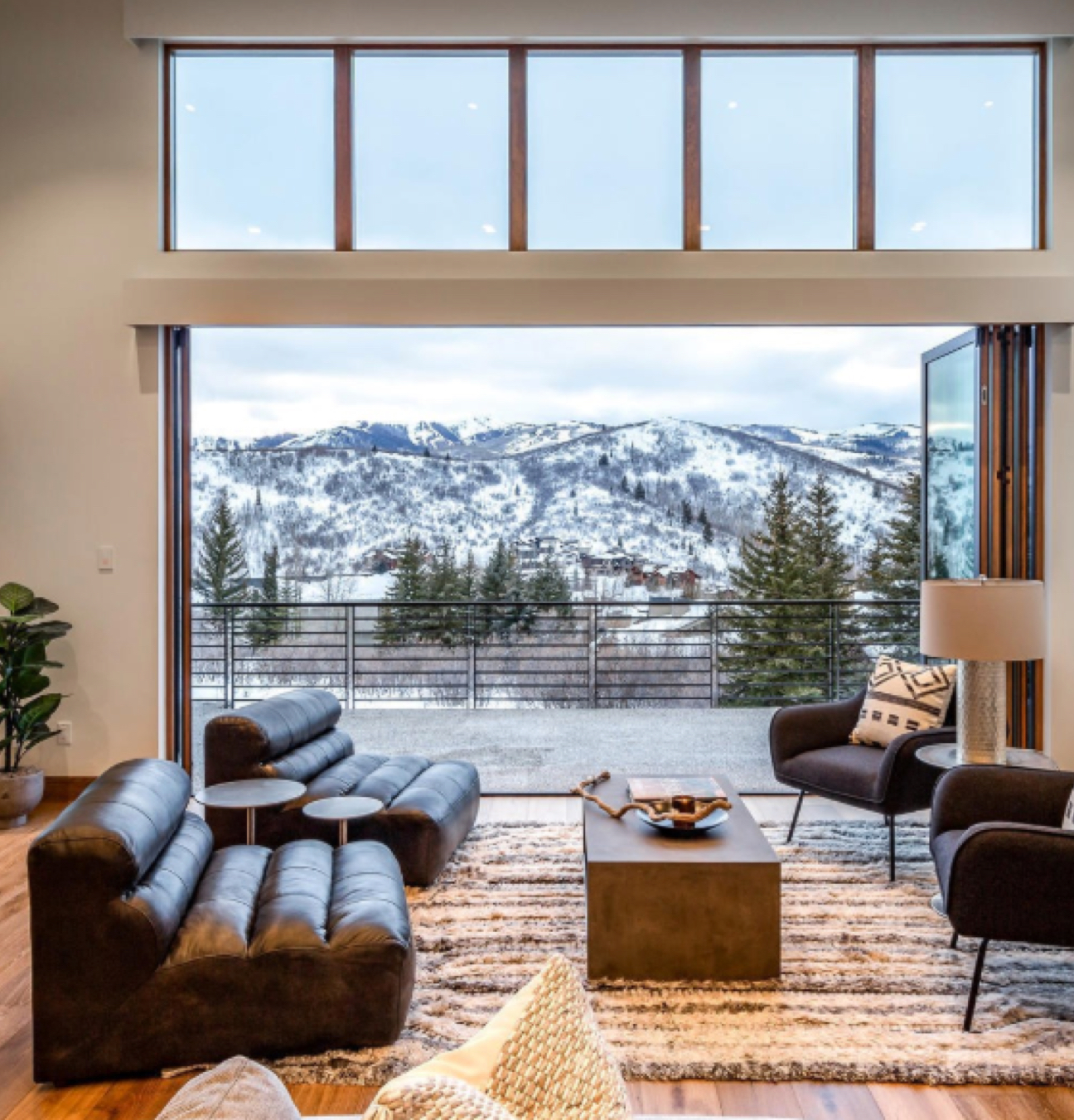 large open interior gathering room with mountain view
